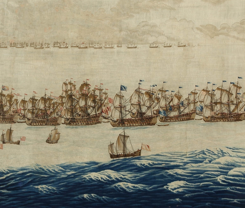 The Fleets drawn up for Battle design Willem van de Velde The Elder 587m x 330 m woven after 1685 detail